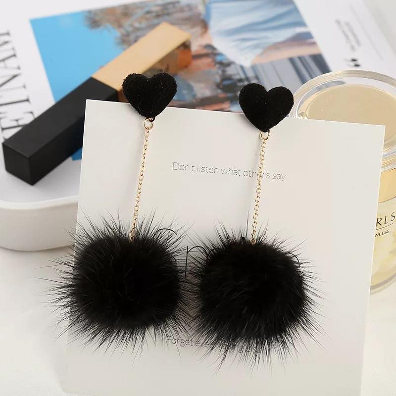 Heart & Pom-Pom Dangle Earrings in Black