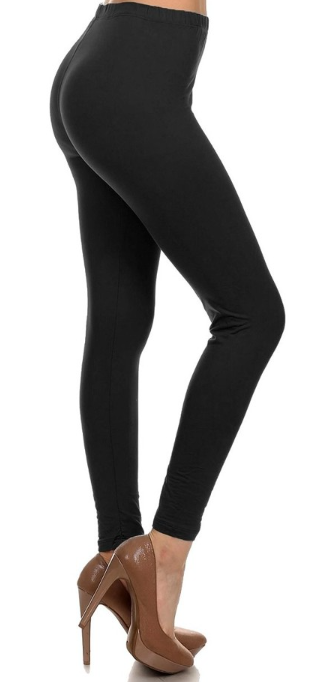 Black Solid - Womens Plus Size Leggings