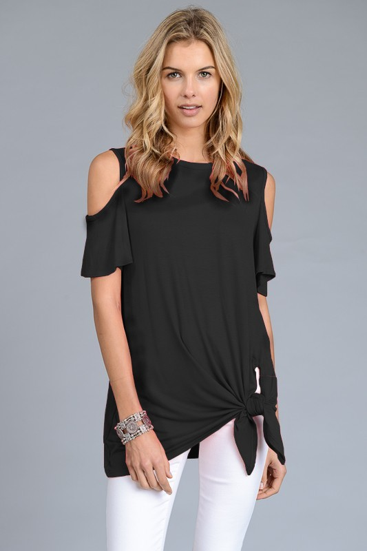 The Stacey - Women's Cold Shoulder Top in Black