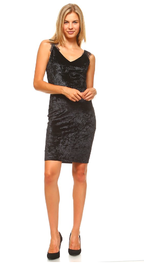 The Cassidy - Women's V Neck Velvet Lace Trimmed Dress