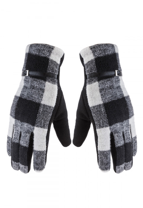 Black & White Buffalo Plaid Smart Gloves
