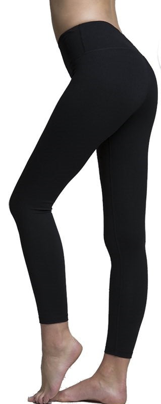 Solid Black Premium Legging with Yoga Band - Women's One Size