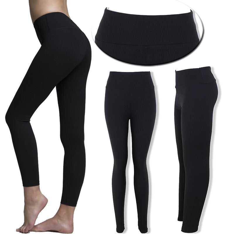 Solid Black Premium Legging with Yoga Band - Women's Plus TC