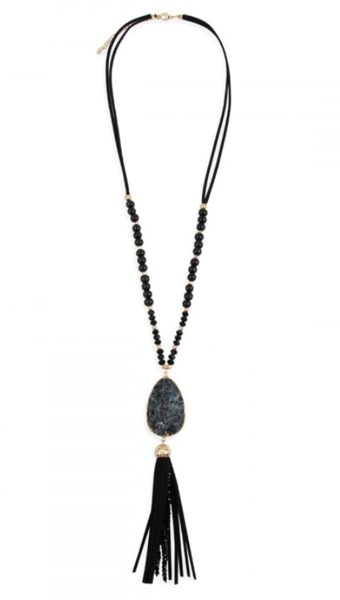 Black Natural Stone Pendant Necklace
