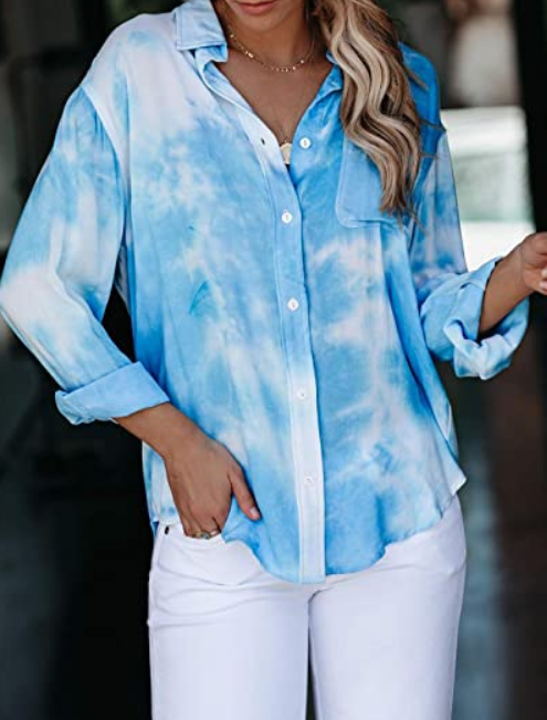 The Jennifer - Women's Button Down Tie Dye Top in Light Blue
