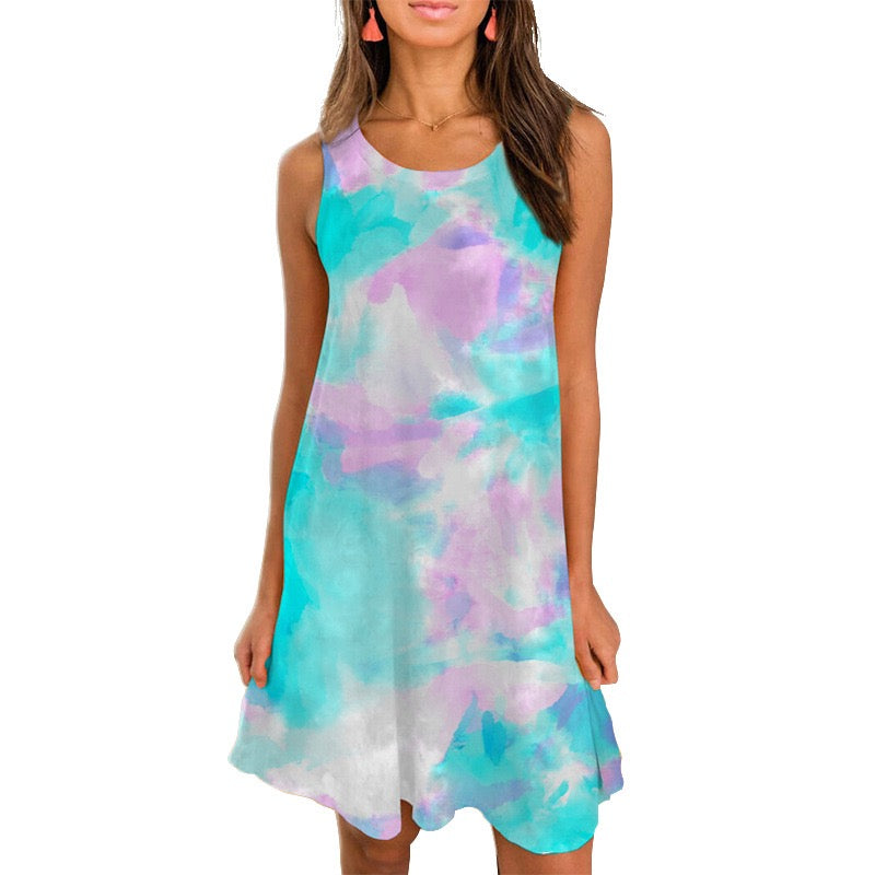 The Galena - Women's Tie Dye Dress in Blue/Pink