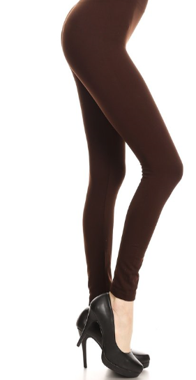 Solid Brown - Women's Plus Size Leggings