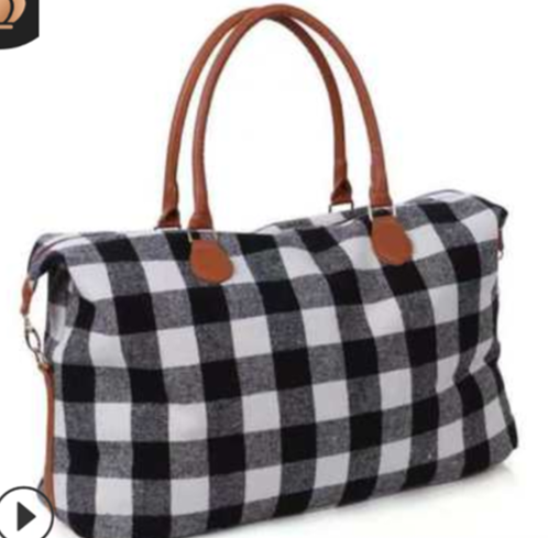 White & Black Buffalo Plaid Weekender Bag
