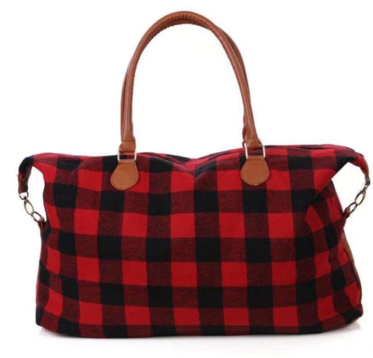 Red Buffalo Plaid Weekender Bag