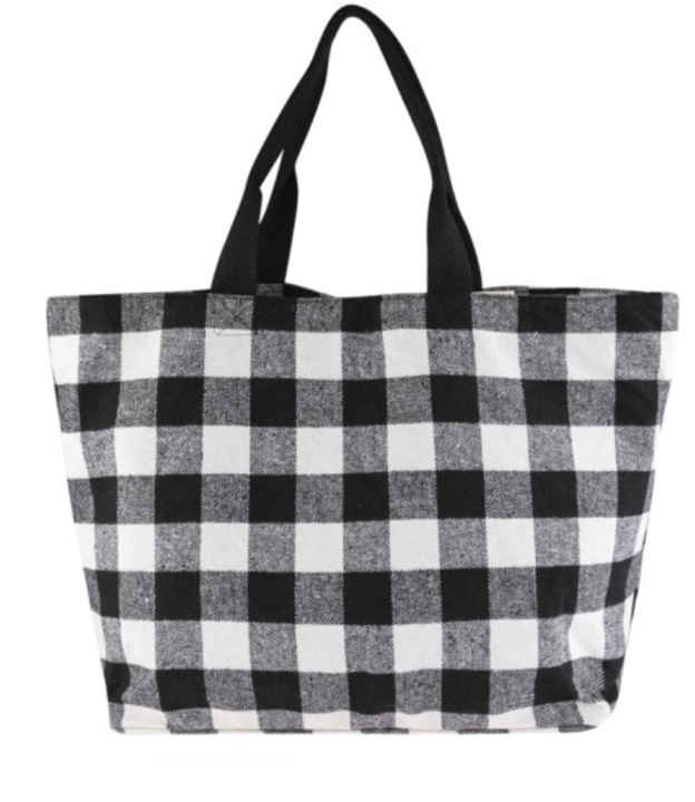 Buffalo Plaid Fabric Tote Bag - Black & White