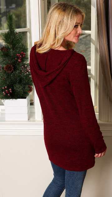 The Natalie - Women's Button Down Tunic with Pockets and Hood in Burgundy