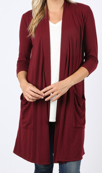 The Blair -  Women's Plus Size Cardigan in Burgundy