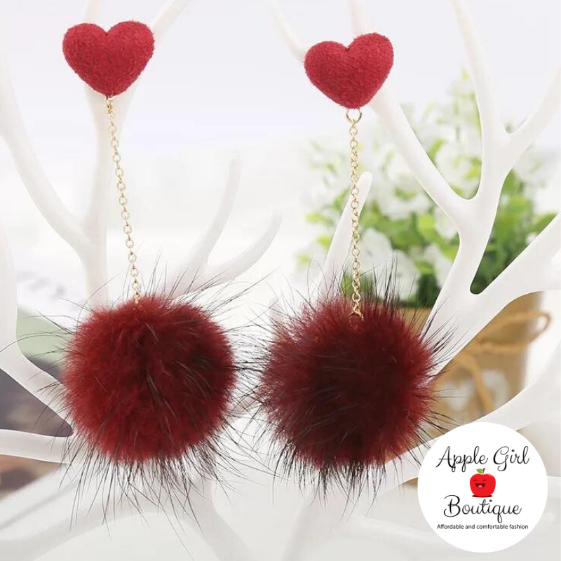 Heart & Pom-Pom Dangle Earrings in Burgundy