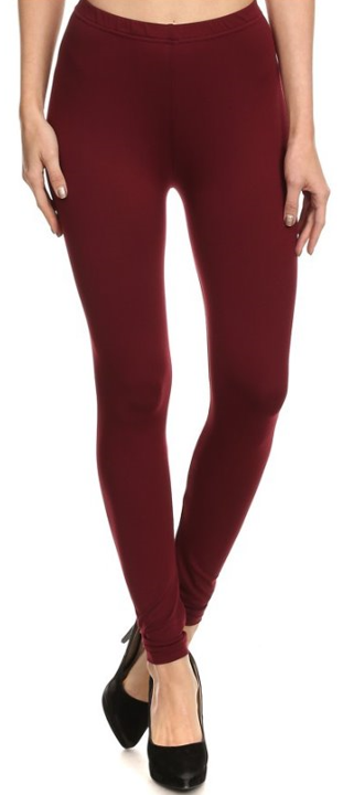 Solid Burgundy - Women's Plus Size Leggings