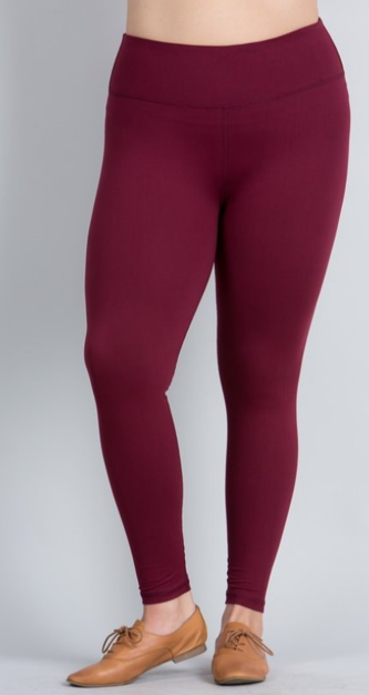 Burgundy Solid Leggings with Yoga Band - Women's Plus TC