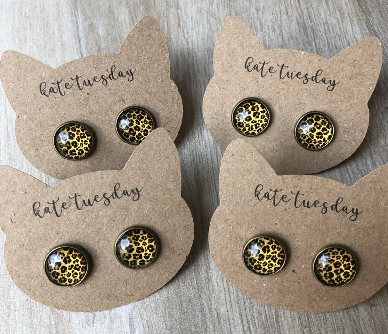 Round Cheetah Stud Earrings