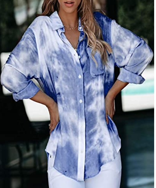 The Jennifer - Women's Button Down Tie Dye Top in Dark Blue