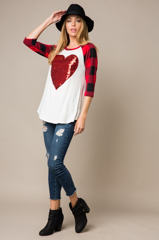 The Dixie with Sequined Heart - Women's Top