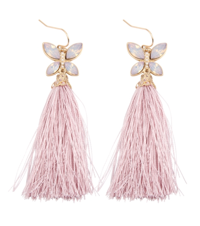 Dusty Pink Butterfly Tassel Earrings