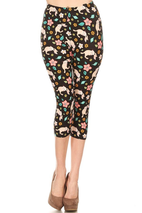 Bunnies in Bloom - Women's Plus Size Capris