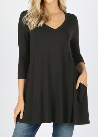 The Emma - Women's Plus Size Flared Tunic in Black