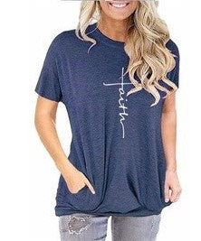 Faith - Women's Short Sleeve Top in Denim Blue