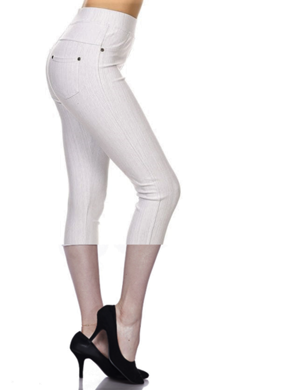 Fashionista Capri Jeggings - Women's One Size in Light Heather Gray