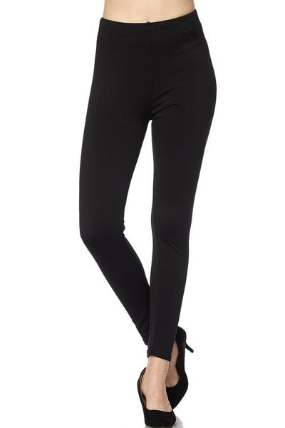 Solid Black Fleece Lined Leggings - Women's Plus Size