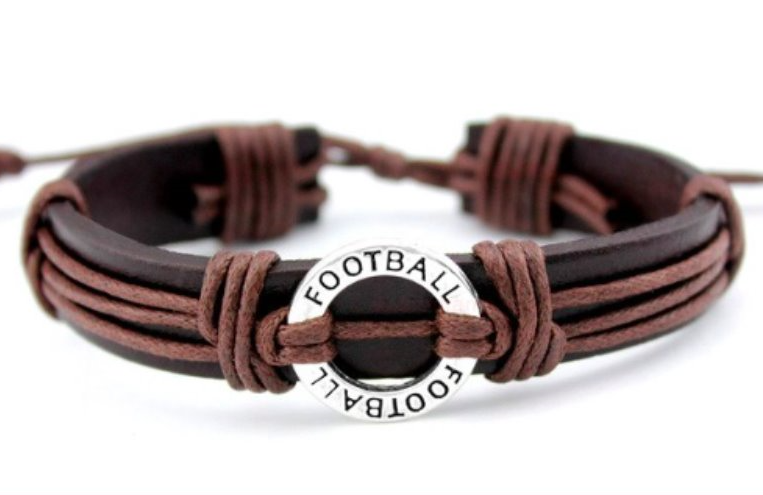 Football Leather Adjustable Bracelets