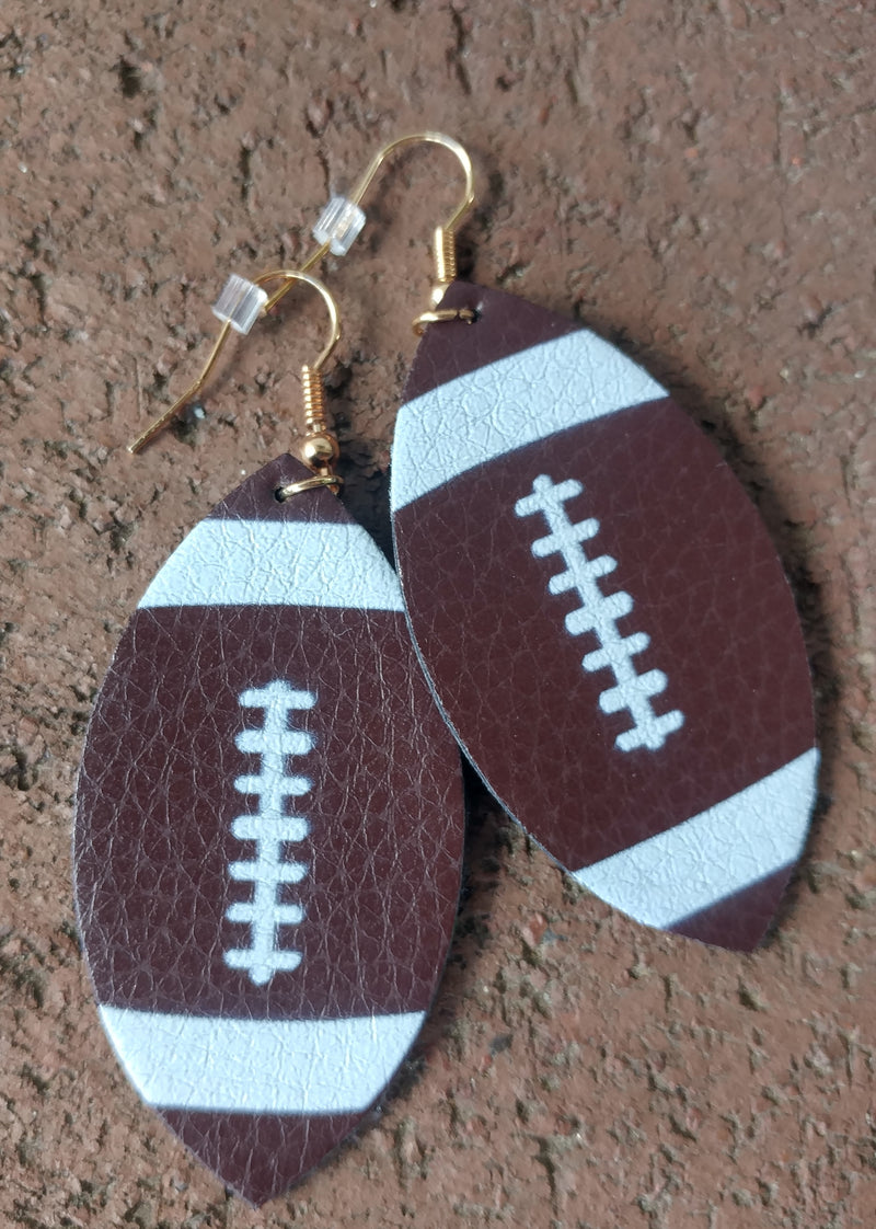 Football Faux Leather Hang Earrings