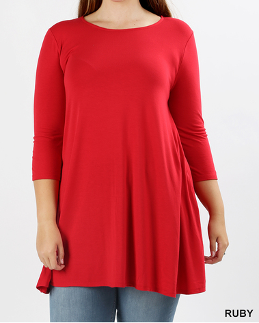 The Francine - Women's Plus Size Swing Tunic in Ruby Red
