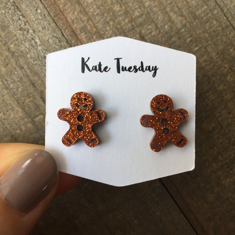 Gingerbread Man Glittery Earrings