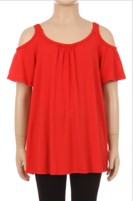 Girls Red Cold Shoulder Top - Apple Girl Boutique