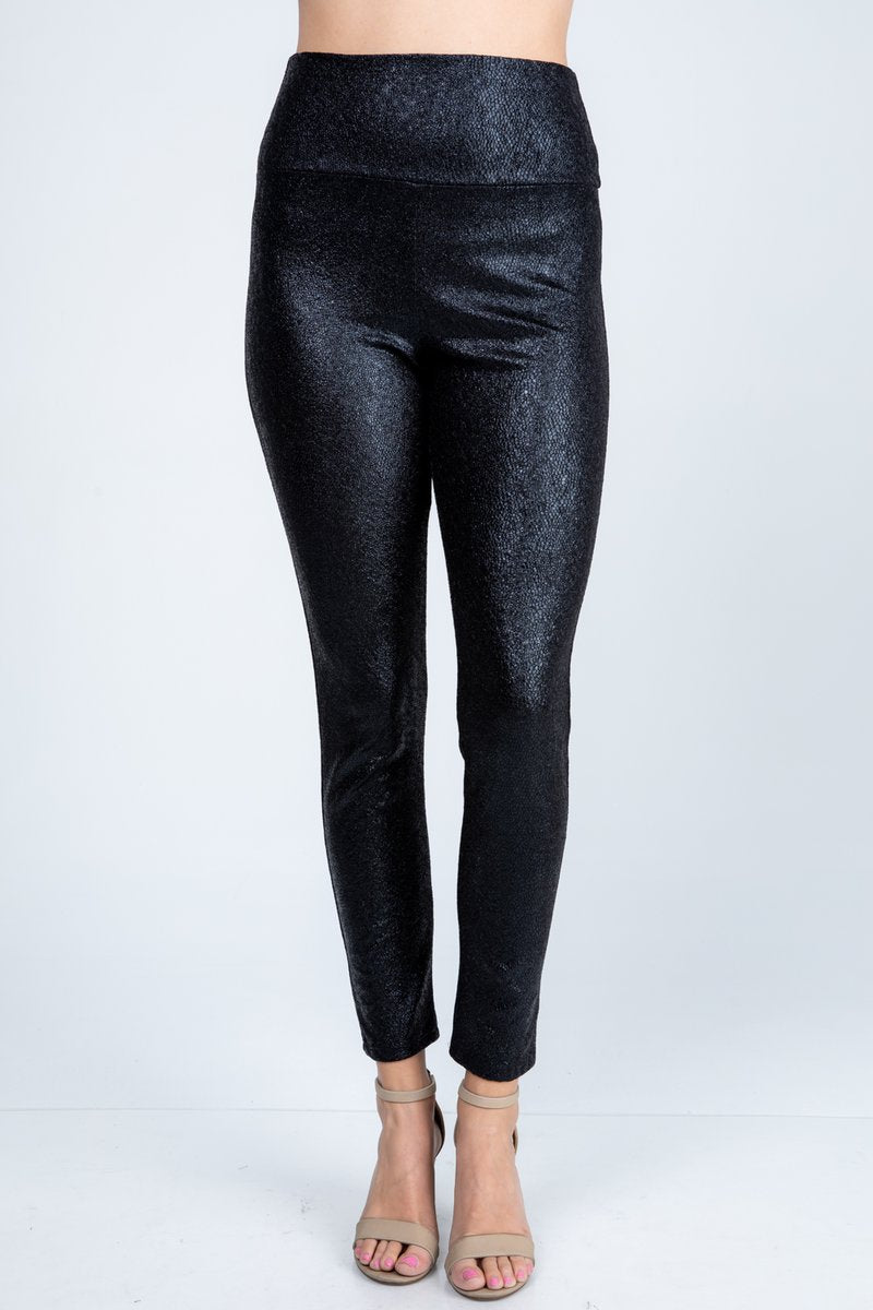 Textured Faux Leather Look Pants in Black - Women's