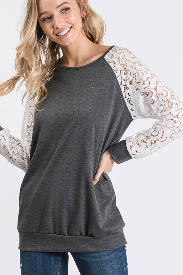 The Grace - Women's Plus Size Top in Charcoal
