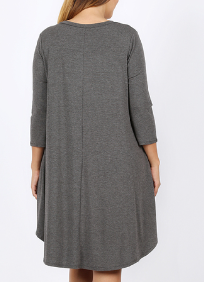 The Greta - Women's Plus Size A-Line Dress in Heather Gray