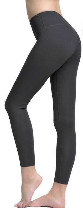 Solid Gray Premium Legging with Yoga Band - Women's One Size