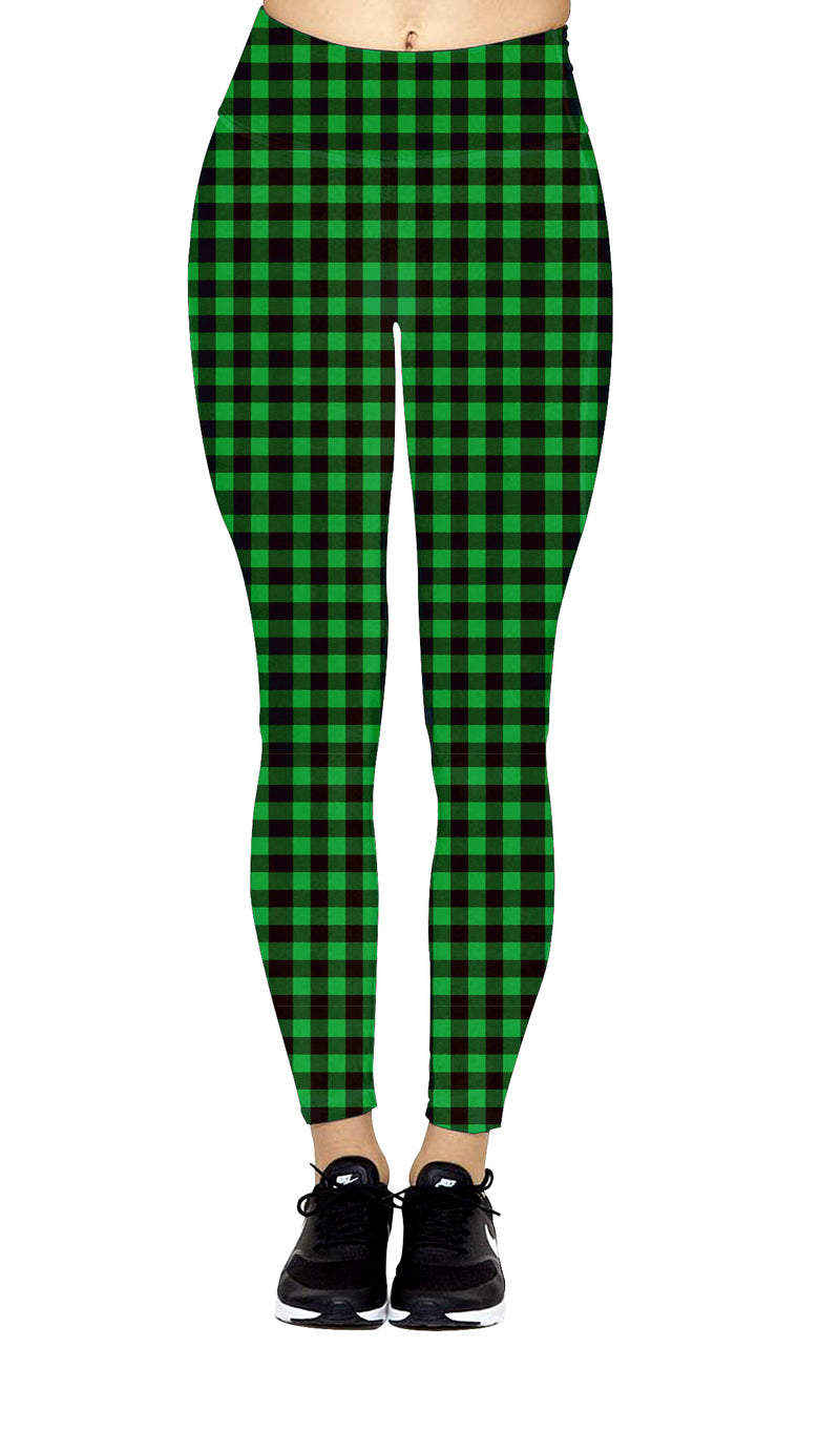 So Kelly Green Plaid - Women's Extra Plus TC Size Leggings