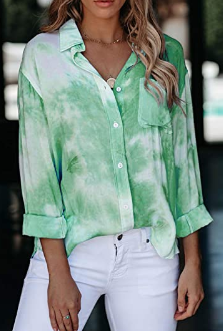 The Jennifer - Women's Button Down Tie Dye Top in Green
