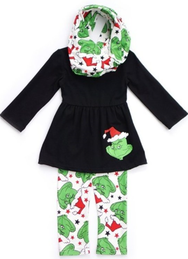 Izzy Loo Who Grinch Outfit - Girls 3 Piece Set