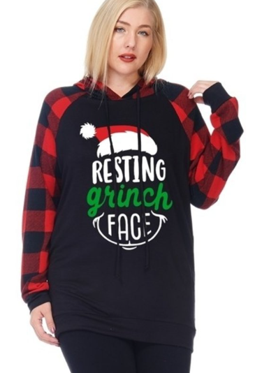 Resting Grinch Face - Women's Plus Size Hoodie