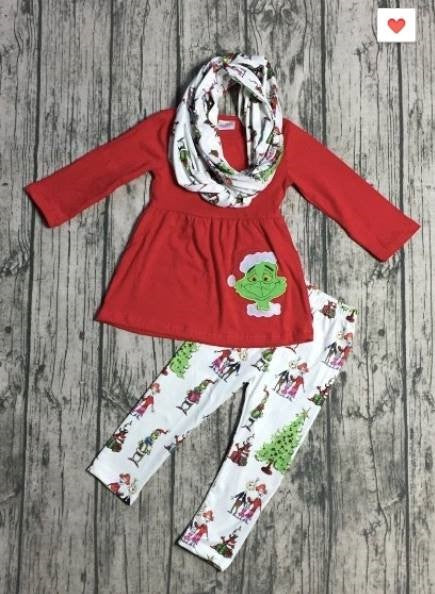 Betty Lou Who Grinch Outfit - Girls 3 Piece Set