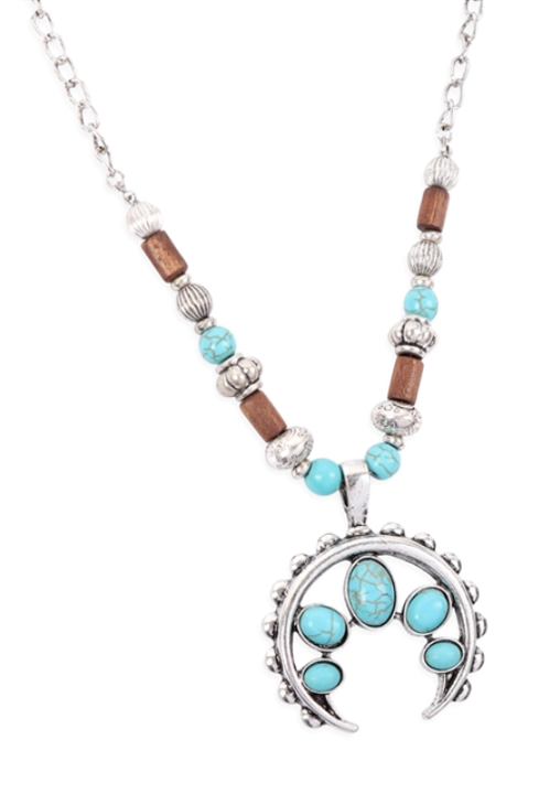 Aztec Metal Horn Turquoise Beaded Necklace