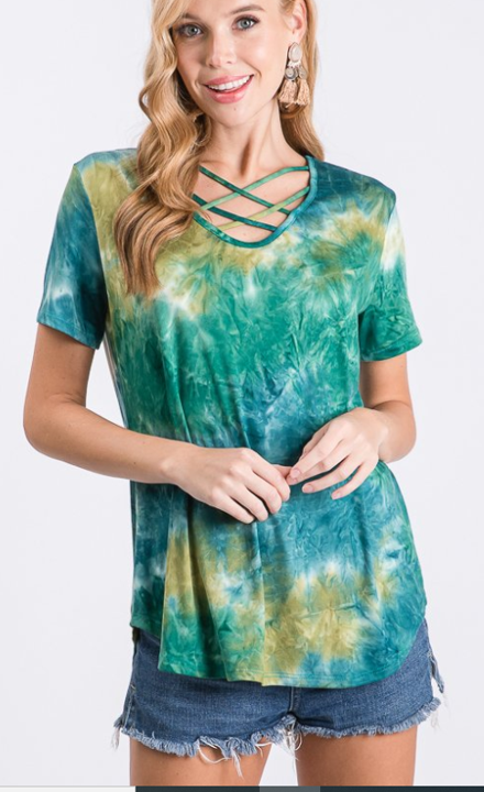 The Harper - Women's Top in Tie Dye Green