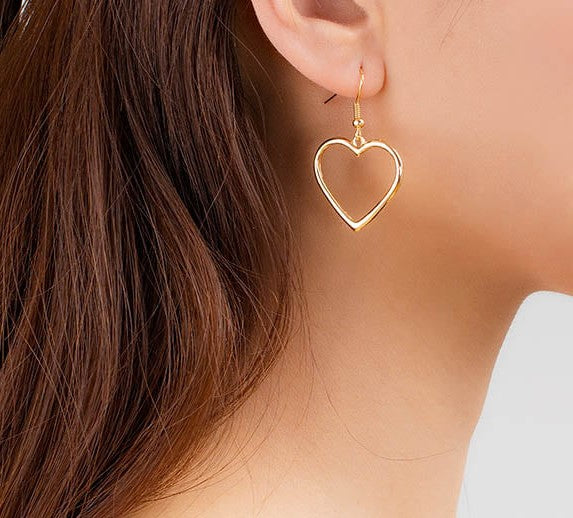 Gold Heart Hoop Dangle Earrings