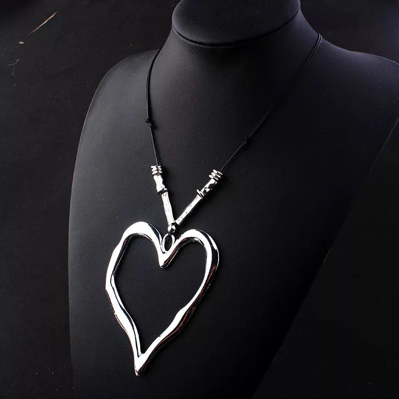 Open Heart Vintage Pendant Necklace