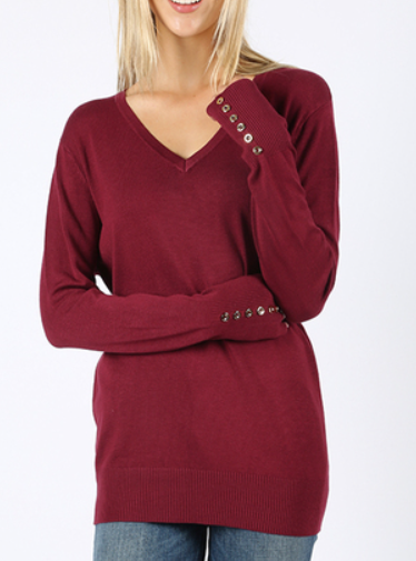 The Jackie - Women's V-Neck Sweater in Cabernet