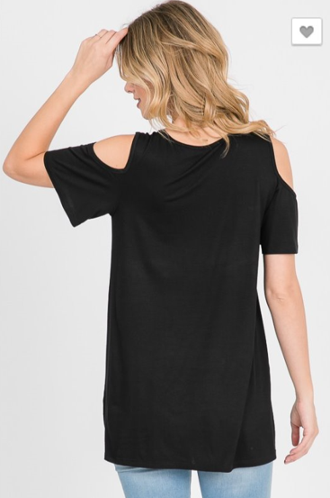 The Jessica - Women's Plus Size Cold Shoulder Top in Black