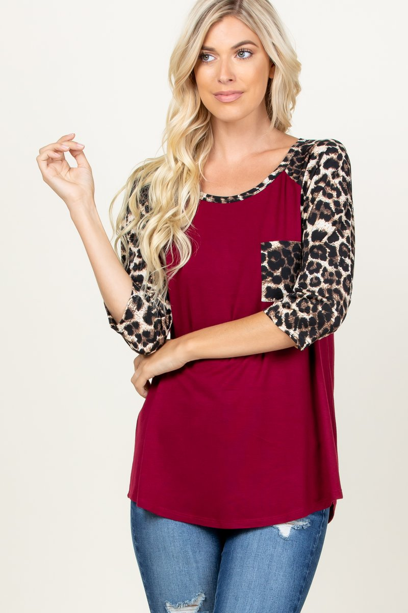 The Josie - Women's Plus Top in Burgundy