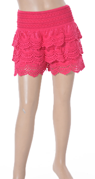 Ruffled Lace Girls Shorts - Fuschia